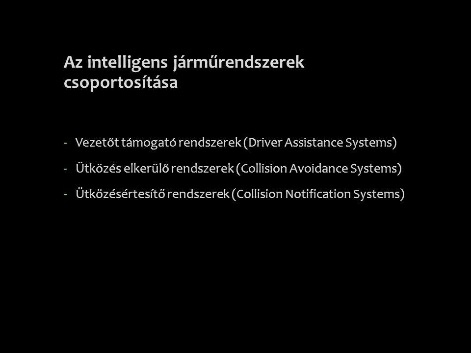 Az intelligens járműrendszerek csoportosítása -Vezetőt támogató rendszerek (Driver Assistance Systems) -Ütközés elkerülő rendszerek (Collision Avoidan