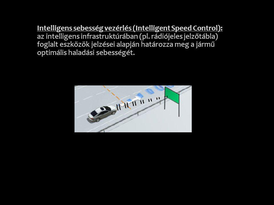 Intelligens sebesség vezérlés (Intelligent Speed Control): az intelligens infrastruktúrában (pl. rádiójeles jelzőtábla) foglalt eszközök jelzései alap