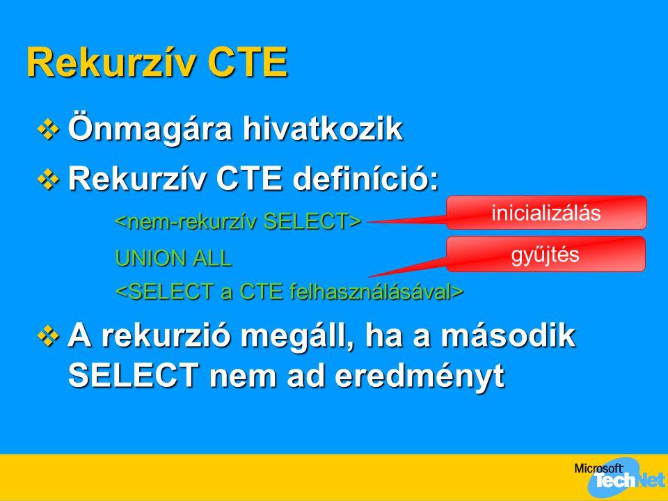 Rekurzív CTE  Önmagára hivatkozik  Rekurzív CTE definíció: UNION ALL  A rekurzió megáll, ha a második SELECT nem ad eredményt inicializálás gyűjtés