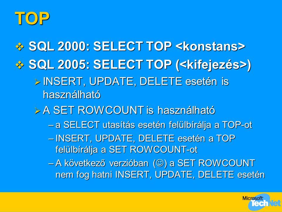 TOP  SQL 2000: SELECT TOP  SQL 2000: SELECT TOP  SQL 2005: SELECT TOP ( )  INSERT, UPDATE, DELETE esetén is használható  A SET ROWCOUNT is haszná