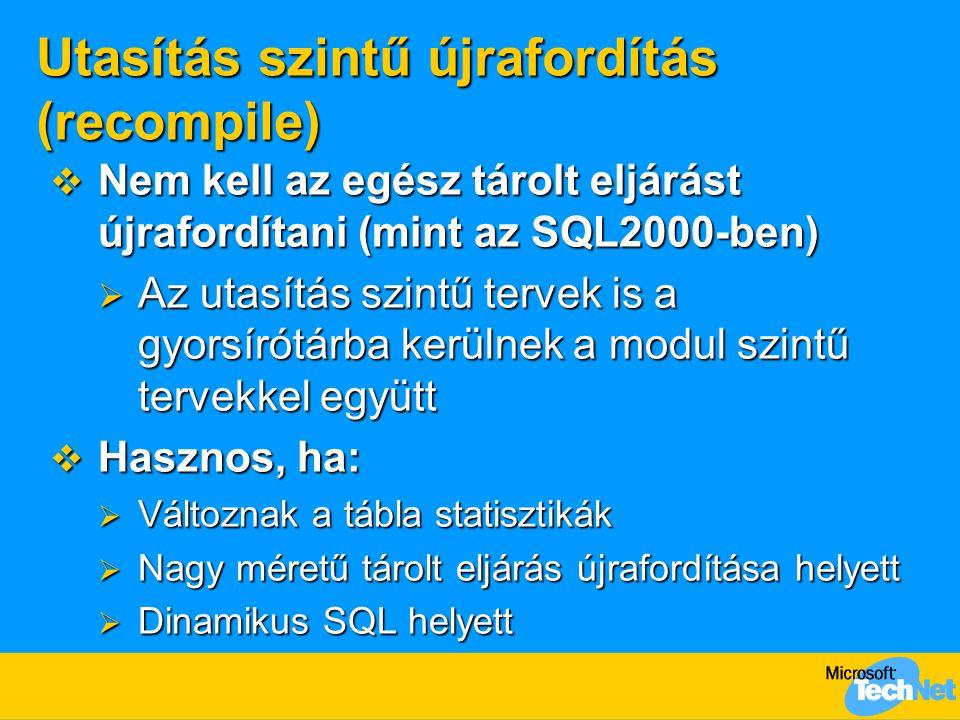 Utasítás szintű újrafordítás (recompile)  Nem kell az egész tárolt eljárást újrafordítani (mint az SQL2000-ben)  Az utasítás szintű tervek is a gyor