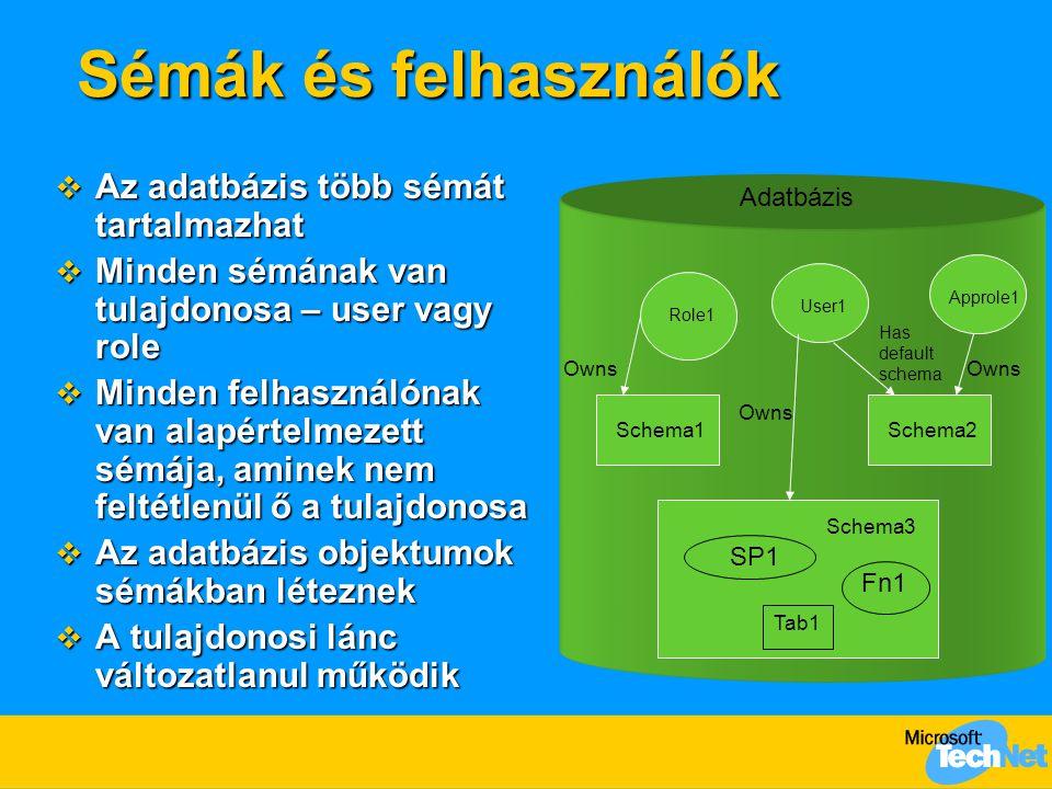Sémák és felhasználók  Az adatbázis több sémát tartalmazhat  Minden sémának van tulajdonosa – user vagy role  Minden felhasználónak van alapértelme