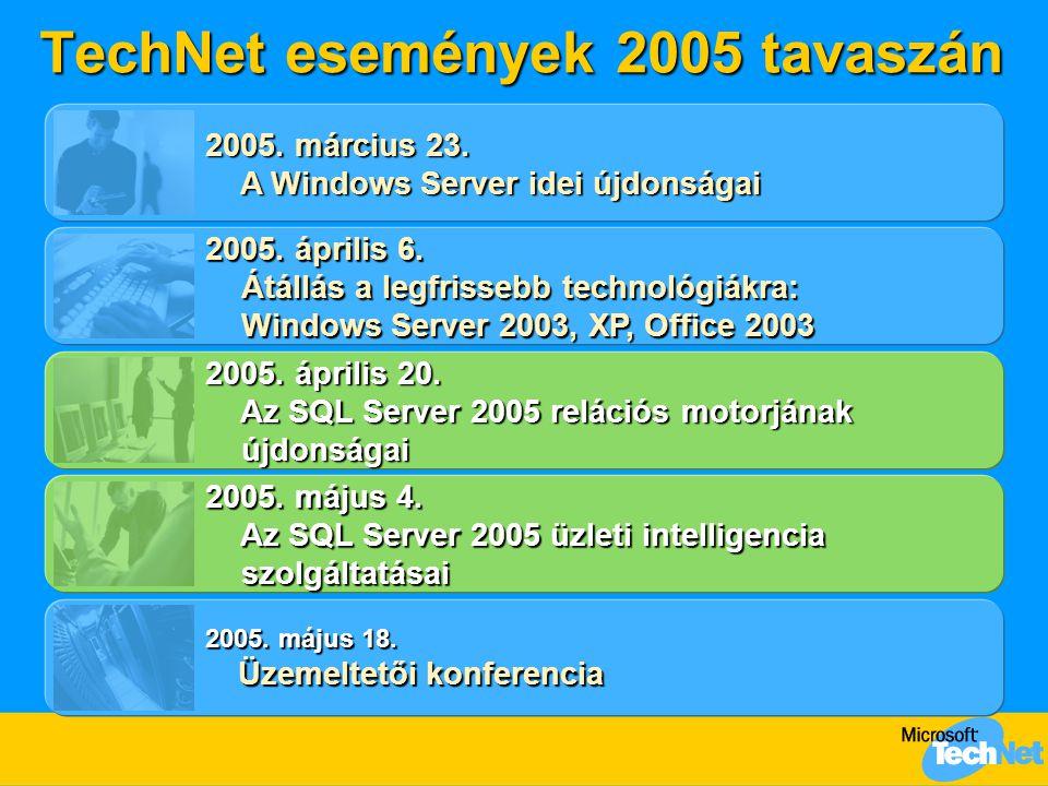 Napirend  Az SQL Server adatplatform  Az SQL Server 2005 áttekintése  Nagyvállalati adatkezelés –Biztonság –Rendelkezésre állás –Skálázhatóság  Programozhatóság –XML, CLR, T-SQL  (Üzleti intelligencia)