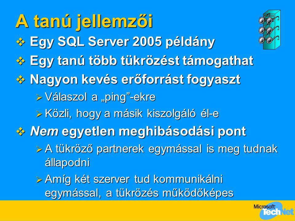 """A tanú jellemzői  Egy SQL Server 2005 példány  Egy tanú több tükrözést támogathat  Nagyon kevés erőforrást fogyaszt  Válaszol a """"ping""""-ekre  Közl"""