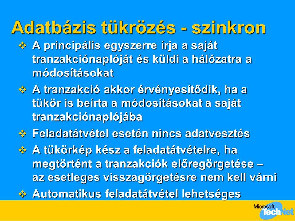 Adatbázis tükrözés - szinkron  A principális egyszerre írja a saját tranzakciónaplóját és küldi a hálózatra a módosításokat  A tranzakció akkor érvé