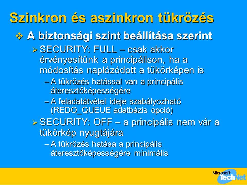 Szinkron és aszinkron tükrözés  A biztonsági szint beállítása szerint  SECURITY: FULL – csak akkor érvényesítünk a principálison, ha a módosítás nap