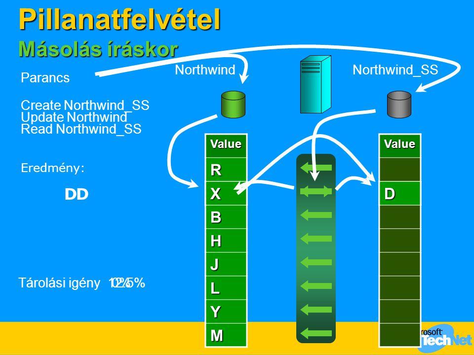 ValueR D B H J L Y M Tárolási igény Parancs Create Northwind_SS NorthwindNorthwind_SS Update Northwind 0%Value DX Read Northwind_SS 12.5% Eredmény: Pi