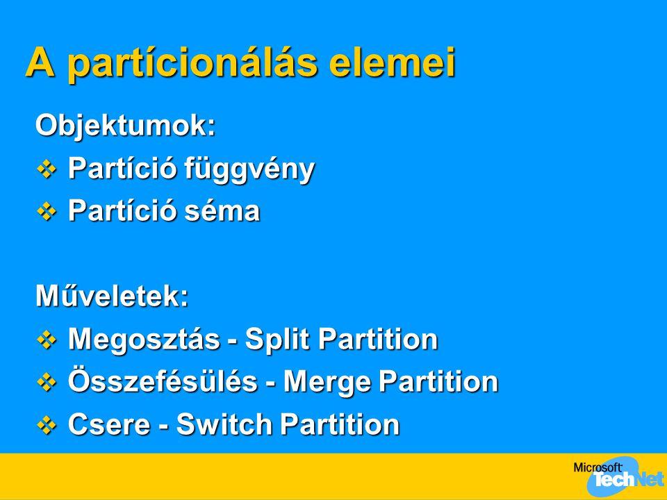 A partícionálás elemei Objektumok:  Partíció függvény  Partíció séma Műveletek:  Megosztás - Split Partition  Összefésülés - Merge Partition  Cse