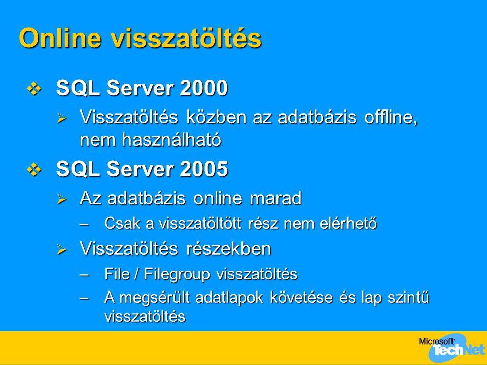 Online visszatöltés  SQL Server 2000  Visszatöltés közben az adatbázis offline, nem használható  SQL Server 2005  Az adatbázis online marad –Csak