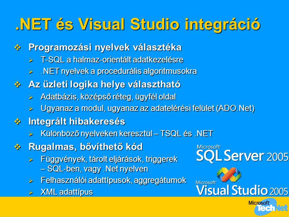 .NET és Visual Studio integráció  Programozási nyelvek választéka  T-SQL a halmaz-orientált adatkezelésre .NET nyelvek a procedurális algoritmusokr