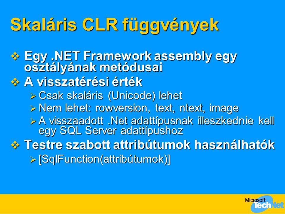 Skaláris CLR függvények  Egy.NET Framework assembly egy osztályának metódusai  A visszatérési érték  Csak skaláris (Unicode) lehet  Nem lehet: row