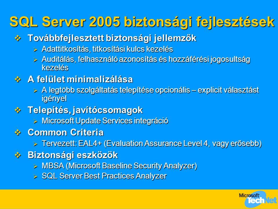 Eredményhalmaz küldése  SqlPipe - Send metódus (overloaded):  void Send(string message) –T-SQL: print  void Send(SqlDataReader reader) –Több soros eredményhalmaz  void Send(SqlDataRecord record) –Egy soros eredményhalmaz  Adatbázis lekérdezés eredménye a kliensre:  SqlPipe.Execute(SqlCommand) SqlCommand cmd = SqlContext.GetCommand(); cmd.CommandText = select @@version ; SqlContext.GetPipe().Execute(cmd);