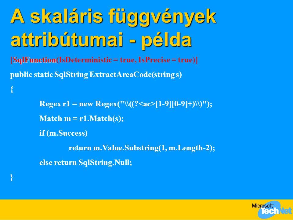 A skaláris függvények attribútumai - példa SqlFunction [SqlFunction(IsDeterministic = true, IsPrecise = true)] public static SqlString ExtractAreaCode
