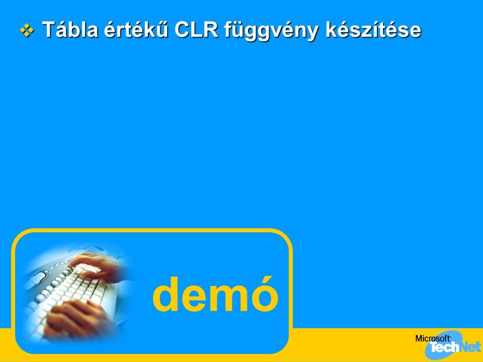 demó  Tábla értékű CLR függvény készítése