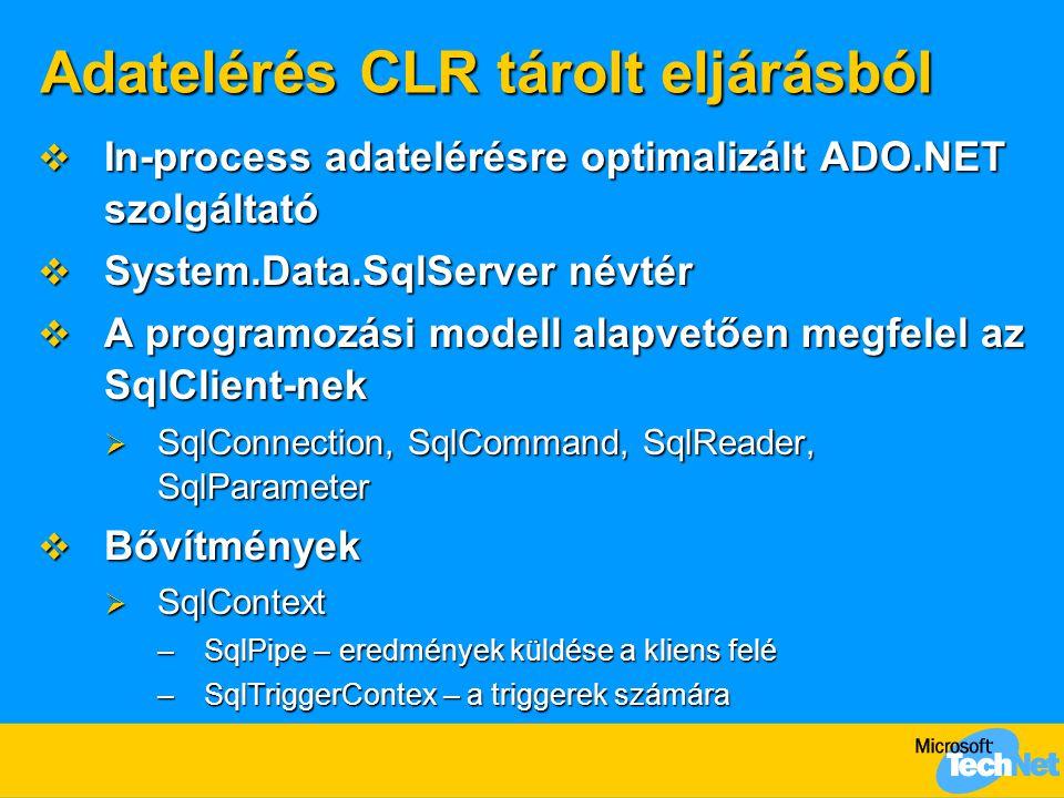 Adatelérés CLR tárolt eljárásból  In-process adatelérésre optimalizált ADO.NET szolgáltató  System.Data.SqlServer névtér  A programozási modell ala