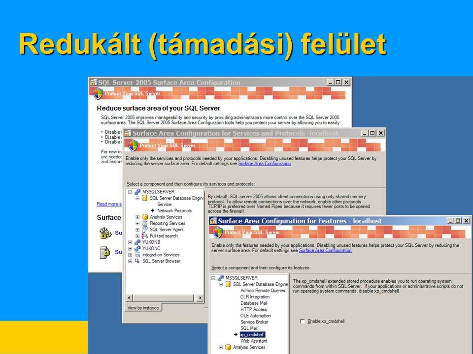 Kiszolgáló oldali XML támogatás  Tárolás  XML adattípus, varchar(max), varbinary(max)  Táblákra bontás  openXML() és  XML metódusok –query() – XML dokumentum egy részének előállítása –value() – skaláris érték kiolvasása –exist() – létezés vizsgálata –nodes() – csomópontok keresése az XML dokumentumban –modify() – XML dokumentum egy részének módosítása