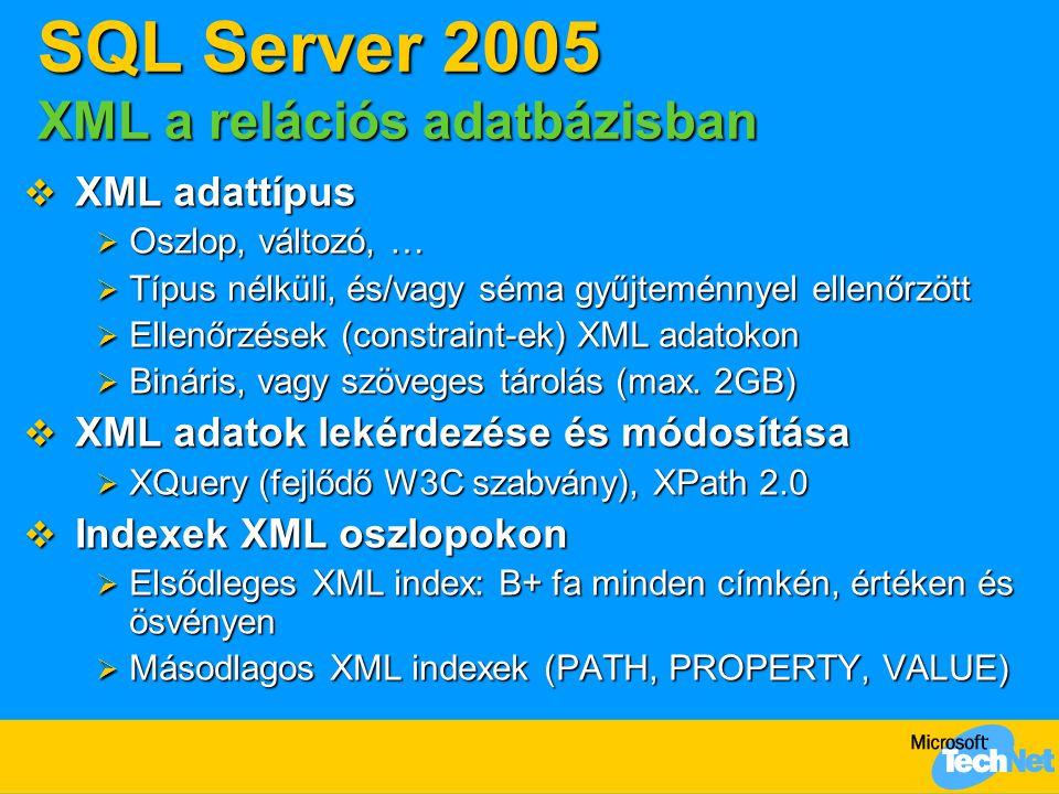 SQL Server 2005 XML a relációs adatbázisban  XML adattípus  Oszlop, változó, …  Típus nélküli, és/vagy séma gyűjteménnyel ellenőrzött  Ellenőrzése