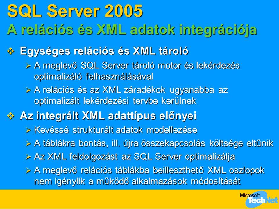 SQL Server 2005 A relációs és XML adatok integrációja  Egységes relációs és XML tároló  A meglevő SQL Server tároló motor és lekérdezés optimalizáló