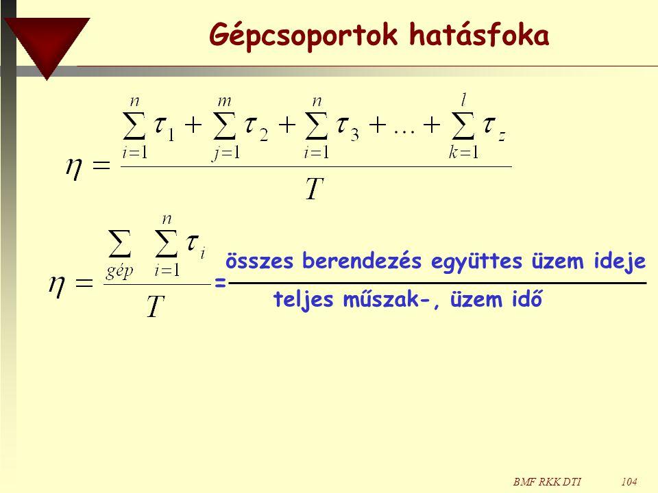 BMF RKK DTI104 Gépcsoportok hatásfoka összes berendezés együttes üzem ideje teljes műszak-, üzem idő =