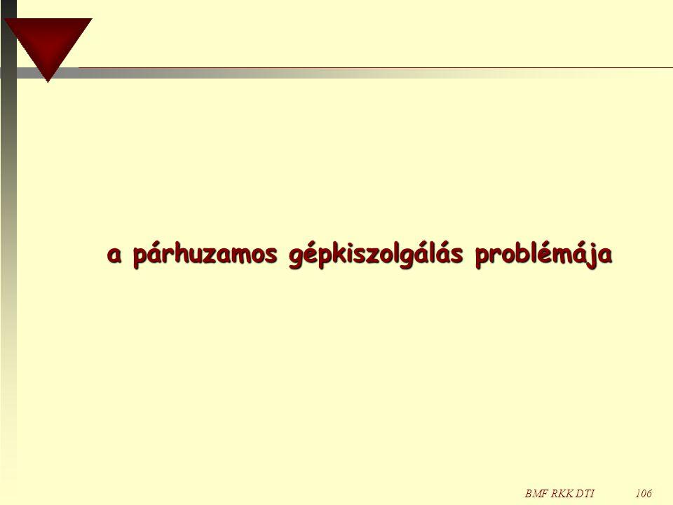 BMF RKK DTI106 a párhuzamos gépkiszolgálás problémája