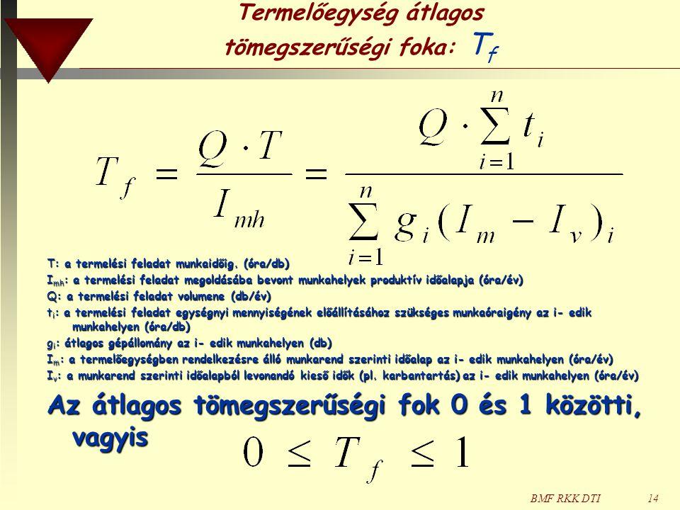BMF RKK DTI14 Termelőegység átlagos tömegszerűségi foka: T f T: a termelési feladat munkaidőig. (óra/db) I mh : a termelési feladat megoldásába bevont