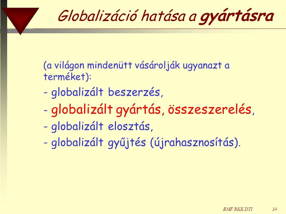 BMF RKK DTI34 Globalizáció hatása a gyártásra (a világon mindenütt vásárolják ugyanazt a terméket): - globalizált beszerzés, - globalizált gyártás, összeszerelés, - globalizált elosztás, - globalizált gyűjtés (újrahasznosítás).