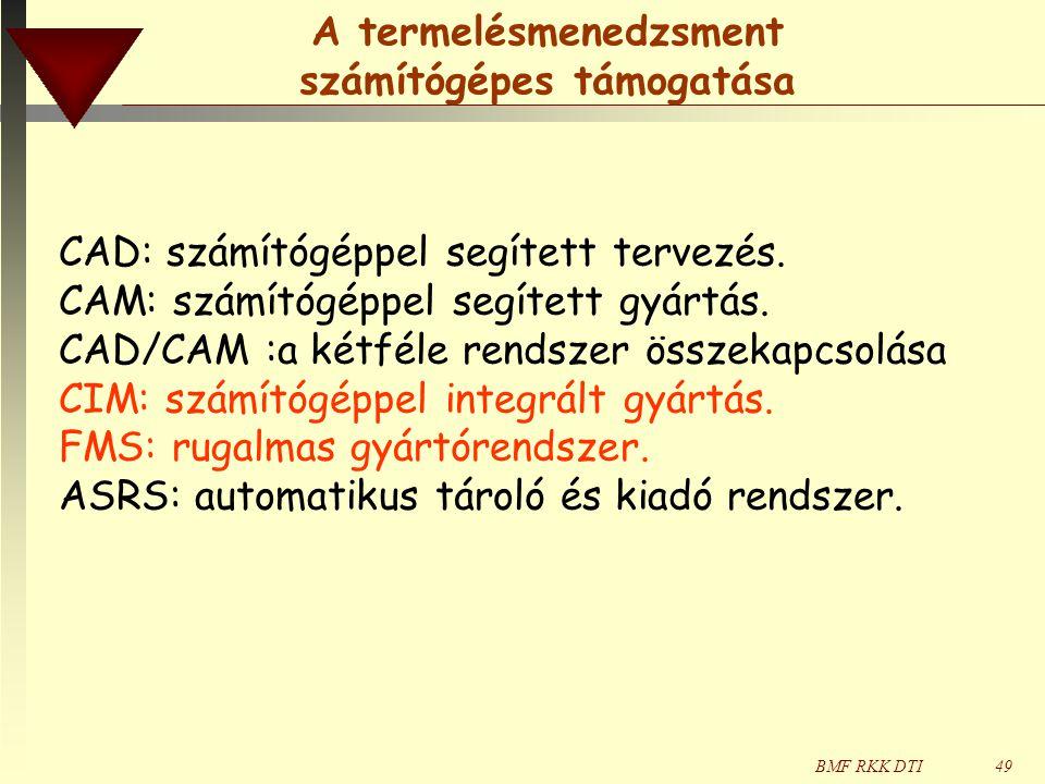 BMF RKK DTI49 CAD: számítógéppel segített tervezés. CAM: számítógéppel segített gyártás. CAD/CAM :a kétféle rendszer összekapcsolása CIM: számítógéppe