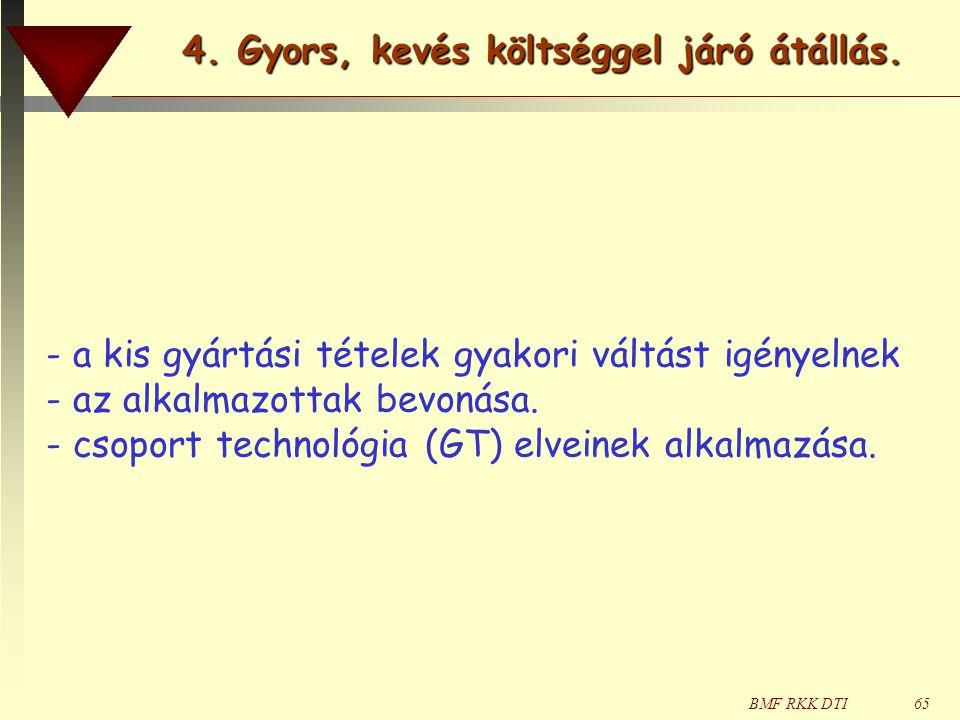 BMF RKK DTI65 - a kis gyártási tételek gyakori váltást igényelnek - az alkalmazottak bevonása. - csoport technológia (GT) elveinek alkalmazása. 4. Gyo