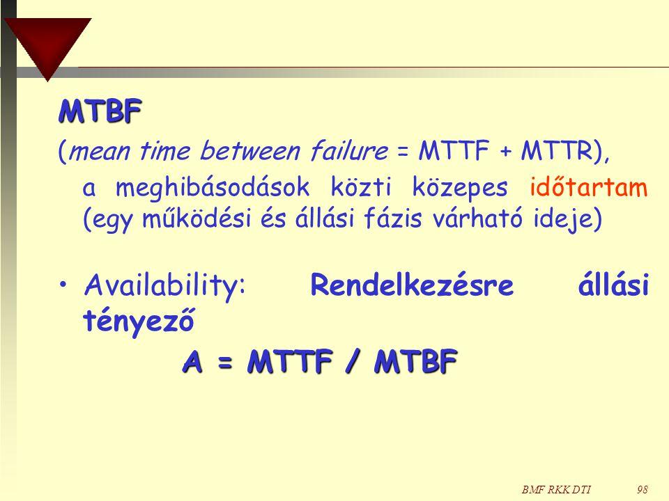 BMF RKK DTI98 MTBF (mean time between failure = MTTF + MTTR), a meghibásodások közti közepes időtartam (egy működési és állási fázis várható ideje) •A