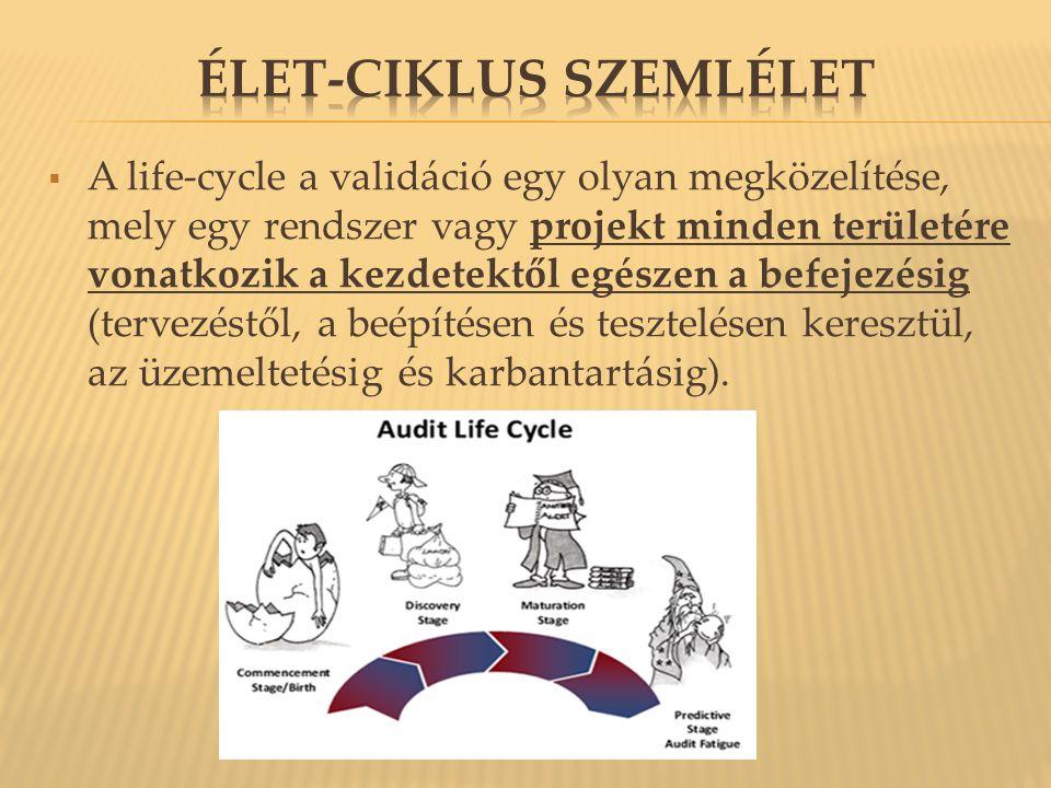  A life-cycle a validáció egy olyan megközelítése, mely egy rendszer vagy projekt minden területére vonatkozik a kezdetektől egészen a befejezésig (tervezéstől, a beépítésen és tesztelésen keresztül, az üzemeltetésig és karbantartásig).