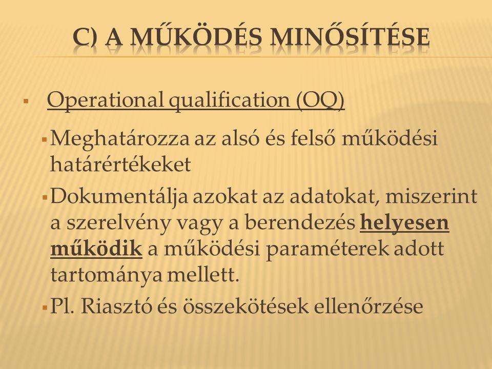  Operational qualification (OQ)  Meghatározza az alsó és felső működési határértékeket  Dokumentálja azokat az adatokat, miszerint a szerelvény vag