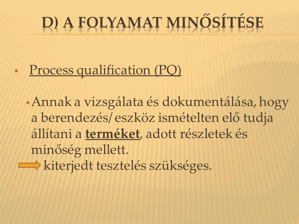  Process qualification (PQ)  Annak a vizsgálata és dokumentálása, hogy a berendezés/ eszköz ismételten elő tudja állítani a terméket, adott részlete