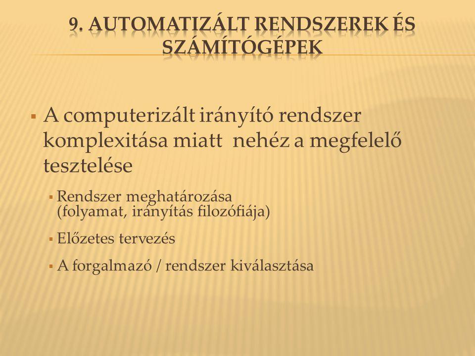  A computerizált irányító rendszer komplexitása miatt nehéz a megfelelő tesztelése  Rendszer meghatározása (folyamat, irányítás filozófiája)  Előzetes tervezés  A forgalmazó / rendszer kiválasztása