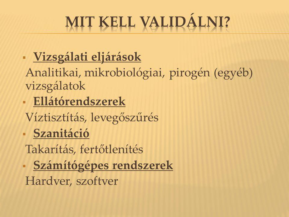  A validálás függ az alkalmazott szervezettől. Patogének esetén B.