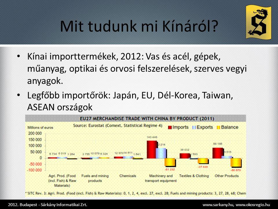 Mit tudunk mi Kínáról? • Kínai importtermékek, 2012: Vas és acél, gépek, műanyag, optikai és orvosi felszerelések, szerves vegyi anyagok. • Legfőbb im