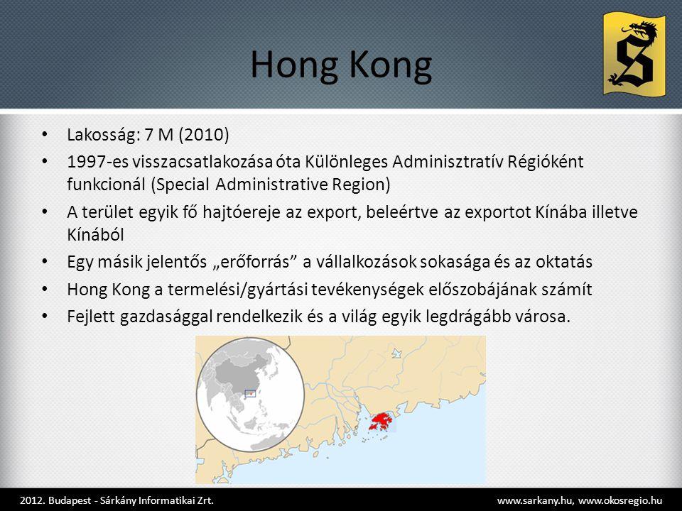 """Hong Kong • Lakosság: 7 M (2010) • 1997-es visszacsatlakozása óta Különleges Adminisztratív Régióként funkcionál (Special Administrative Region) • A terület egyik fő hajtóereje az export, beleértve az exportot Kínába illetve Kínából • Egy másik jelentős """"erőforrás a vállalkozások sokasága és az oktatás • Hong Kong a termelési/gyártási tevékenységek előszobájának számít • Fejlett gazdasággal rendelkezik és a világ egyik legdrágább városa."""