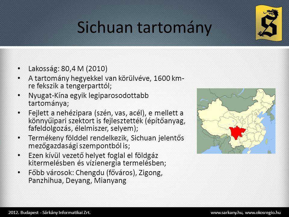 Sichuan tartomány • Lakosság: 80,4 M (2010) • A tartomány hegyekkel van körülvéve, 1600 km- re fekszik a tengerparttól; • Nyugat-Kína egyik legiparosodottabb tartománya; • Fejlett a nehézipara (szén, vas, acél), e mellett a könnyűipari szektort is fejlesztették (építőanyag, fafeldolgozás, élelmiszer, selyem); • Termékeny földdel rendelkezik, Sichuan jelentős mezőgazdasági szempontból is; • Ezen kívül vezető helyet foglal el földgáz kitermelésben és vízienergia termelésben; • Főbb városok: Chengdu (főváros), Zigong, Panzhihua, Deyang, Mianyang 2012.