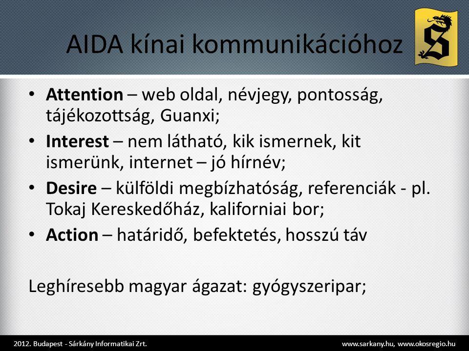 AIDA kínai kommunikációhoz • Attention – web oldal, névjegy, pontosság, tájékozottság, Guanxi; • Interest – nem látható, kik ismernek, kit ismerünk, internet – jó hírnév; • Desire – külföldi megbízhatóság, referenciák - pl.