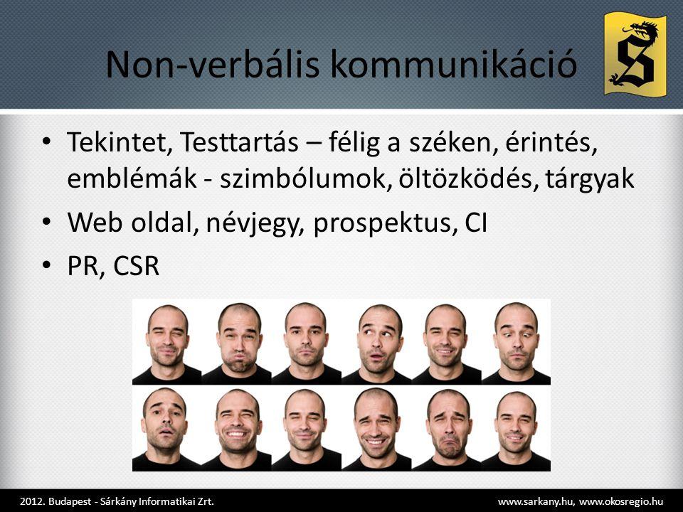 Non-verbális kommunikáció • Tekintet, Testtartás – félig a széken, érintés, emblémák - szimbólumok, öltözködés, tárgyak • Web oldal, névjegy, prospektus, CI • PR, CSR 2012.