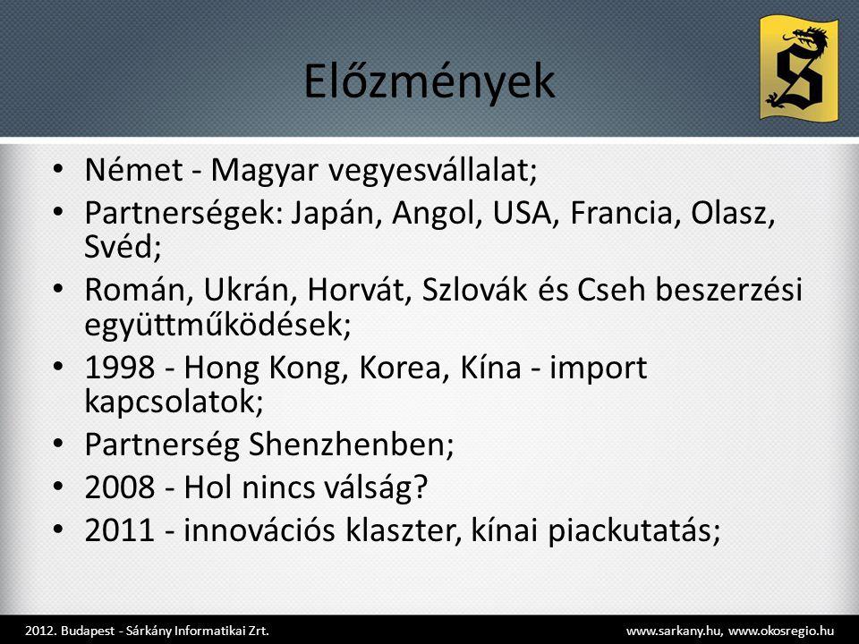 Előzmények • Német - Magyar vegyesvállalat; • Partnerségek: Japán, Angol, USA, Francia, Olasz, Svéd; • Román, Ukrán, Horvát, Szlovák és Cseh beszerzési együttműködések; • 1998 - Hong Kong, Korea, Kína - import kapcsolatok; • Partnerség Shenzhenben; • 2008 - Hol nincs válság.
