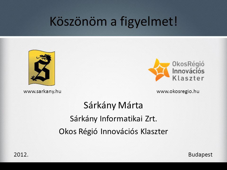 Köszönöm a figyelmet! Sárkány Márta Sárkány Informatikai Zrt. Okos Régió Innovációs Klaszter 2012. Budapest www.sarkany.huwww.okosregio.hu