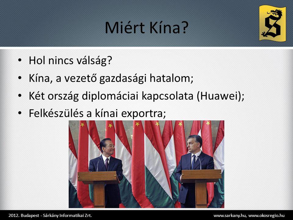 Miért Kína? • Hol nincs válság? • Kína, a vezető gazdasági hatalom; • Két ország diplomáciai kapcsolata (Huawei); • Felkészülés a kínai exportra; 2012