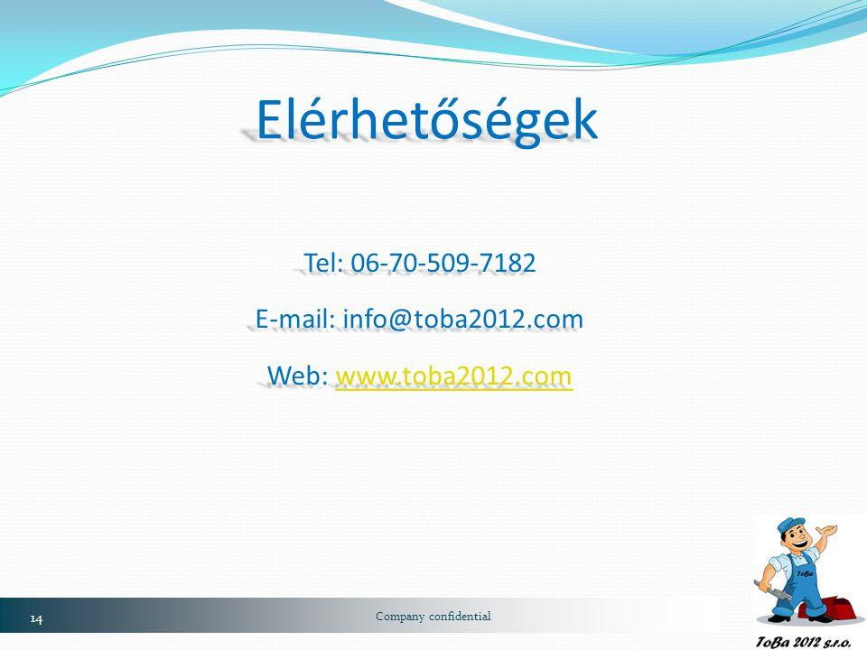 14 Company confidential Elérhetőségek Tel: 06-70-509-7182 E-mail: info@toba2012.com Web: www.toba2012.com www.toba2012.com