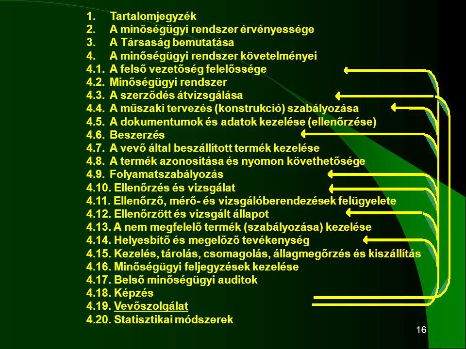 16 1.Tartalomjegyzék 2.A minőségügyi rendszer érvényessége 3.A Társaság bemutatása 4.A minőségügyi rendszer követelményei 4.1.A felső vezetőség felelő