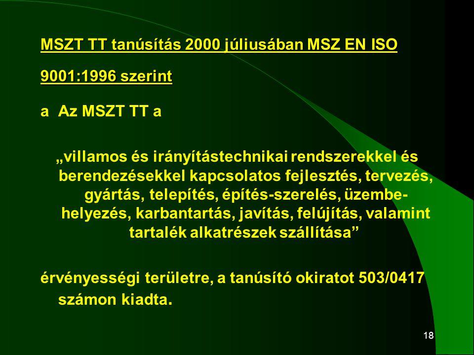 """18 MSZT TT tanúsítás 2000 júliusában MSZ EN ISO 9001:1996 szerint aAz MSZT TT a """"villamos és irányítástechnikai rendszerekkel és berendezésekkel kapcs"""