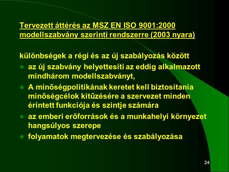 24 Tervezett áttérés az MSZ EN ISO 9001:2000 modellszabvány szerinti rendszerre (2003 nyara) különbségek a régi és az új szabályozás között  az új sz