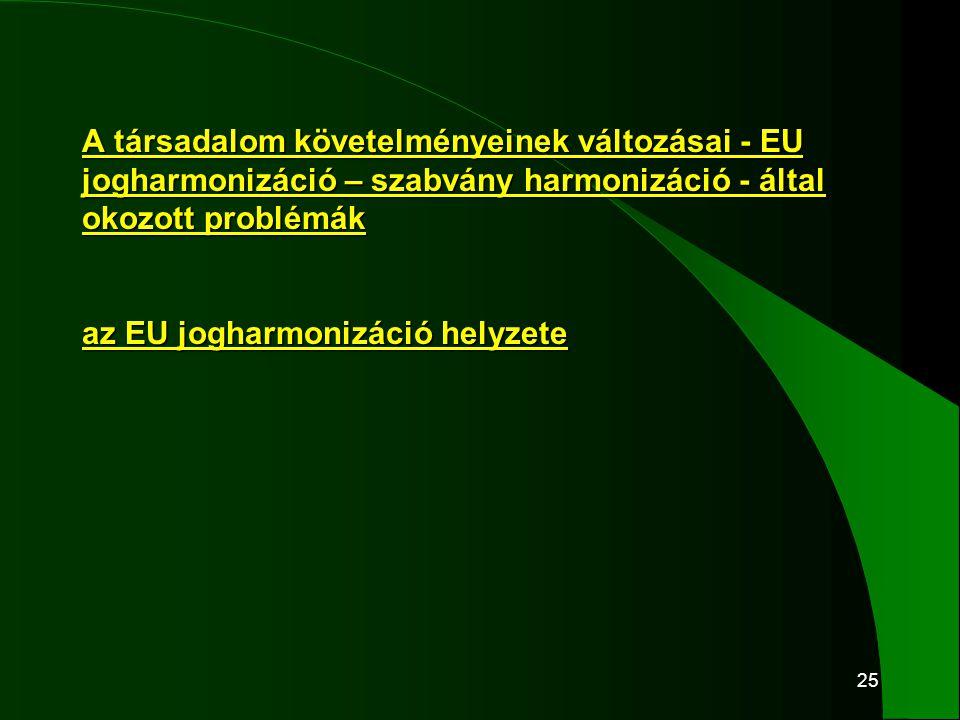25 A társadalom követelményeinek változásai - EU jogharmonizáció – szabvány harmonizáció - által okozott problémák az EU jogharmonizáció helyzete