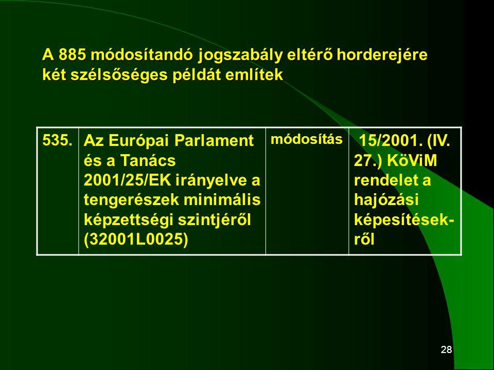 28 A 885 módosítandó jogszabály eltérő horderejére két szélsőséges példát említek 535. Az Európai Parlament és a Tanács 2001/25/EK irányelve a tengeré