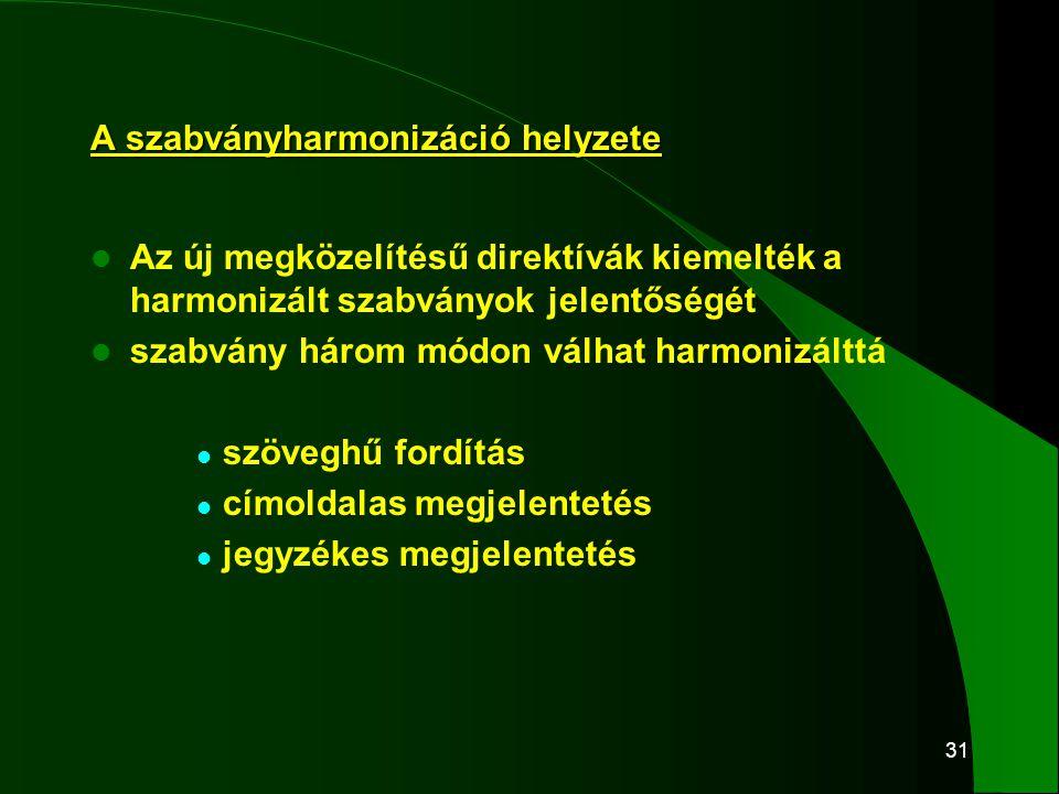 31 A szabványharmonizáció helyzete  Az új megközelítésű direktívák kiemelték a harmonizált szabványok jelentőségét  szabvány három módon válhat harm