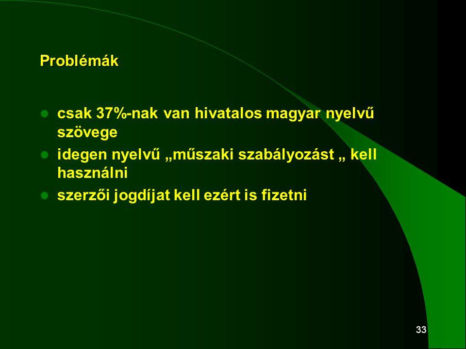 """33 Problémák  csak 37%-nak van hivatalos magyar nyelvű szövege  idegen nyelvű """"műszaki szabályozást """" kell használni  szerzői jogdíjat kell ezért i"""